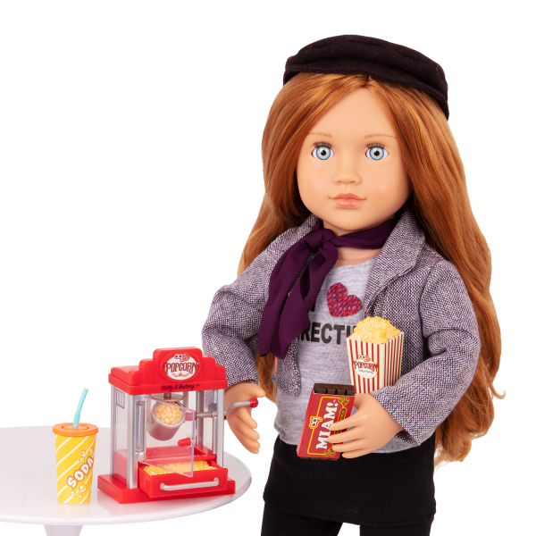 Pop Pop Popcorn Machine Retro Playset for 18-inch Dolls