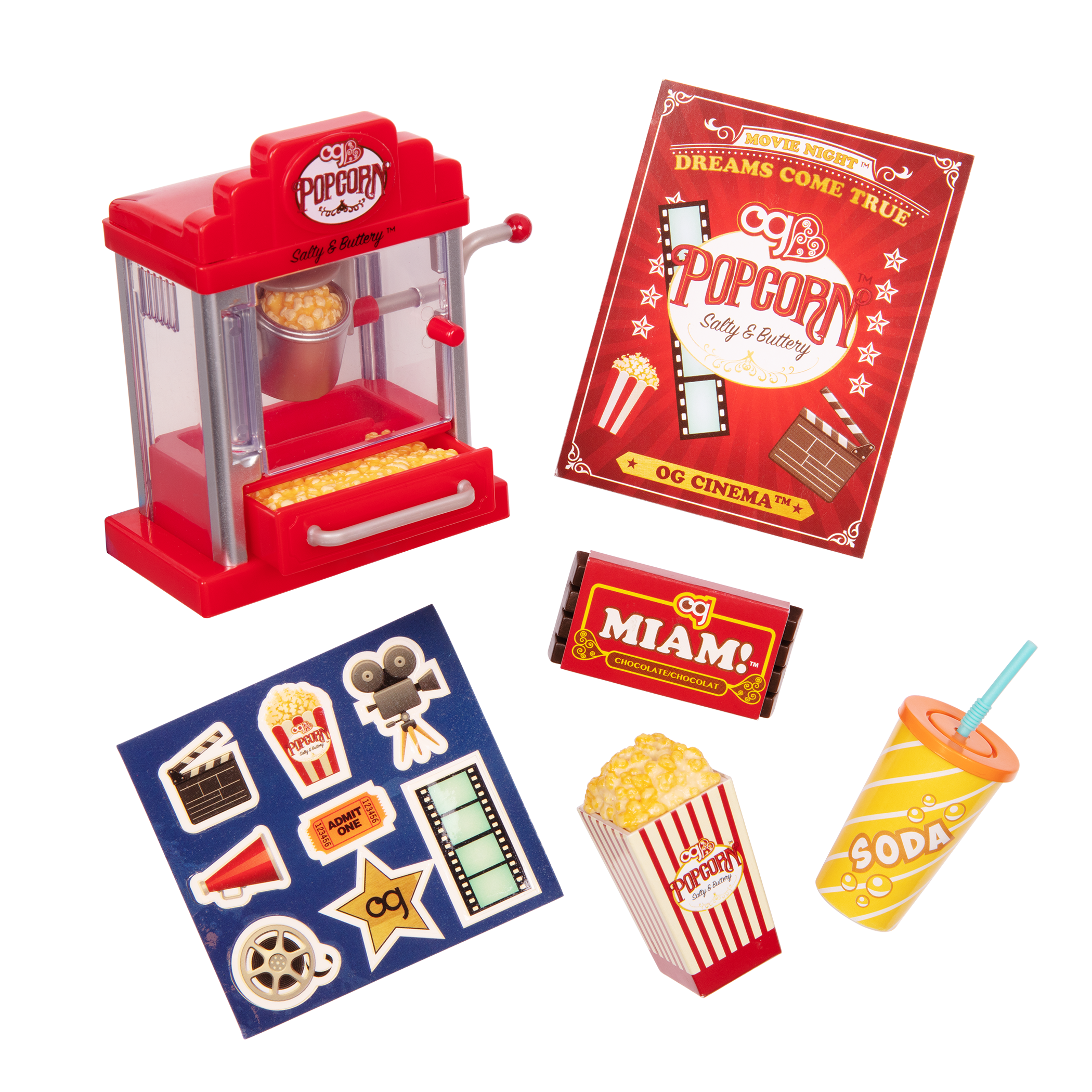 Pop Pop Popcorn Machine for 18-inch Dolls
