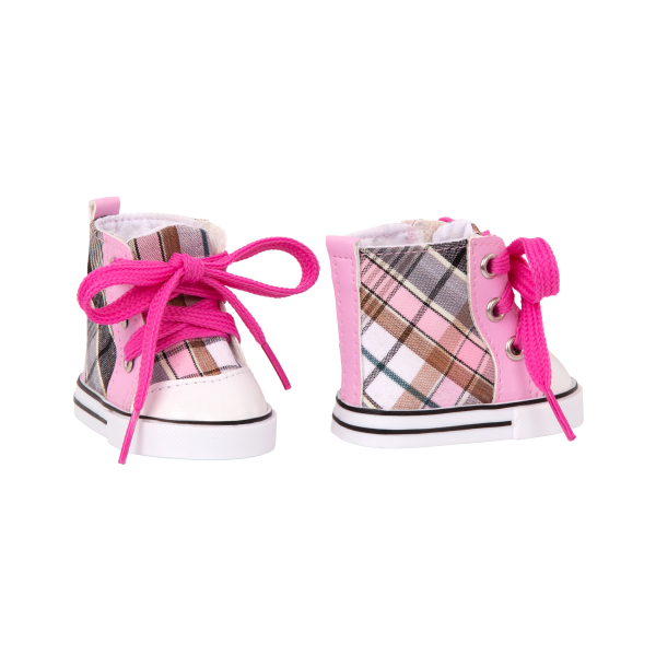 Plaid All Over High-Top Shoes for 18-inch Dolls