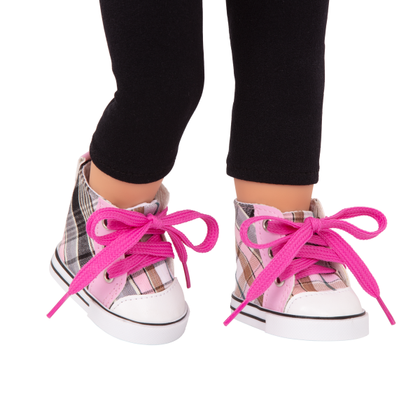 Plaid All Over High-Top Shoes Pink Shoelaces for 18-inch Dolls