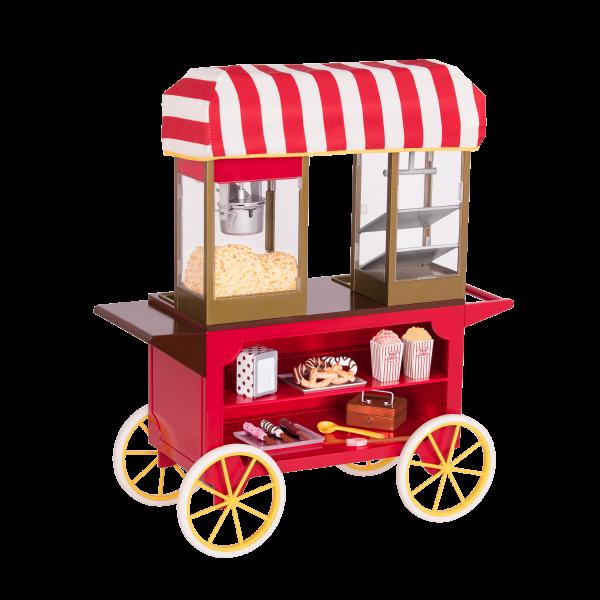 Poppin' Plenty Rolling Snack Cart Retro Theme for 18-inch Dolls