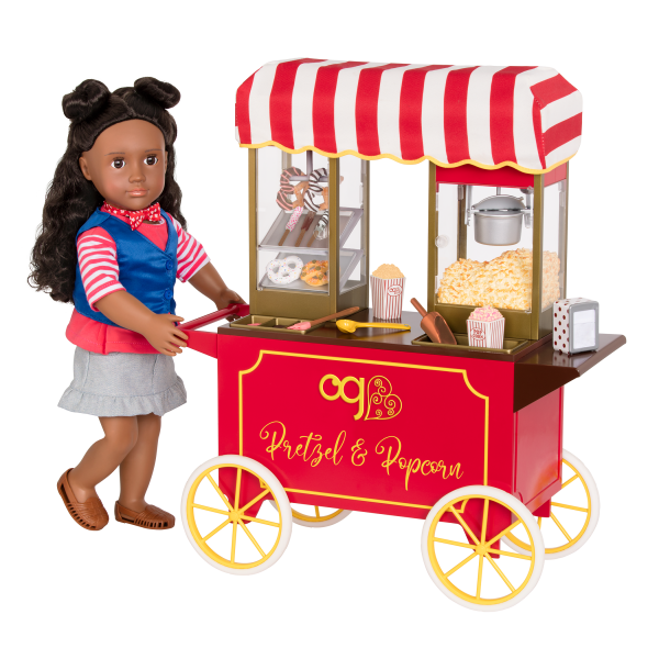 Poppin' Plenty Snack Cart Popcorn Play Food for 18-inch Dolls with Macy