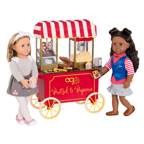 Poppin' Plenty Popcorn Snack Cart Play Food for 18-inch Dolls with Macy and Bina
