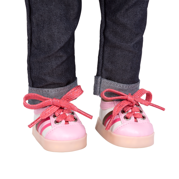 Rainbow Delight Light-Up Pink Shoes for 18-inch Dolls