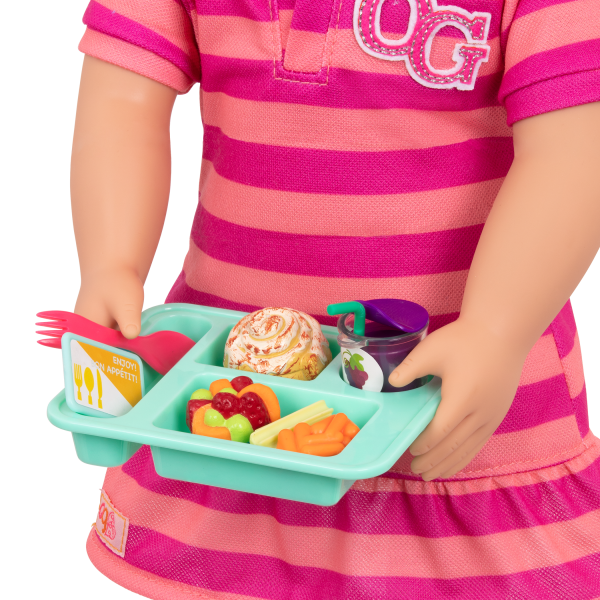 Lunch Time Fun Time School Play Food Tray for 18-inch Dolls