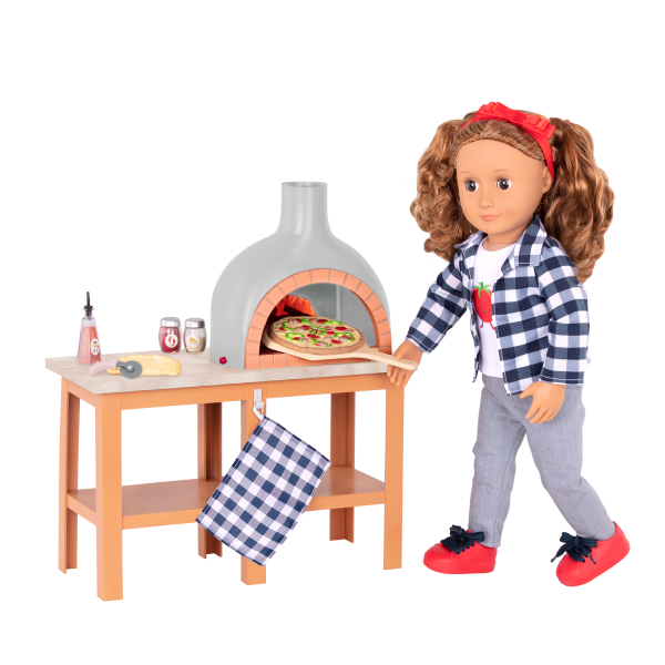 Pizza Oven Playset Toy Food for 18-inch Dolls Isa