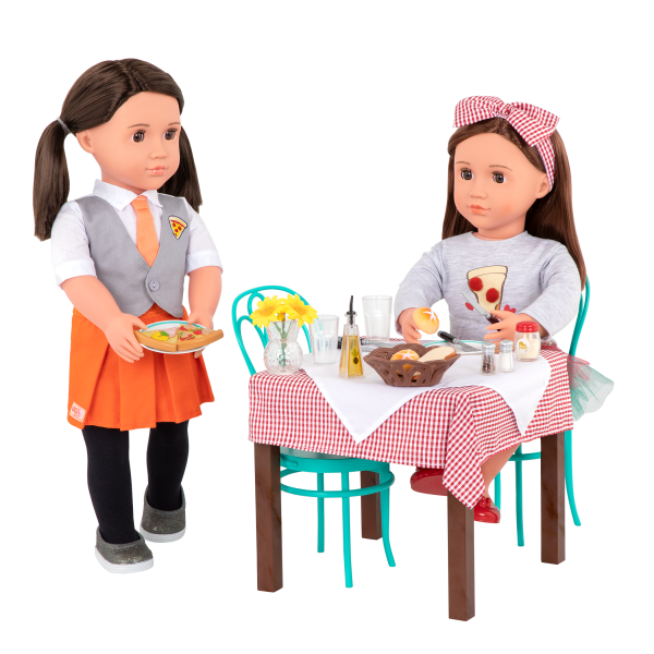 Pizza With You Dining Table Furniture Set Toy Food for 18-inch Dolls Francesca Avia