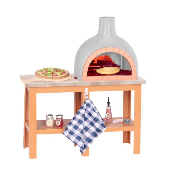 Pizza Maker Oven Playset Toy Food for 18-inch Dolls