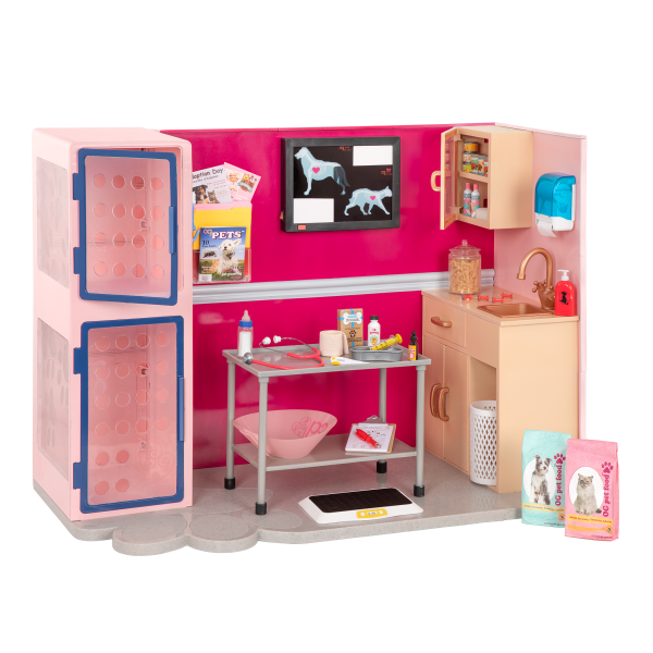 Electronic Healthy Paws Vet Clinic Playset Pink for 18-inch Dolls