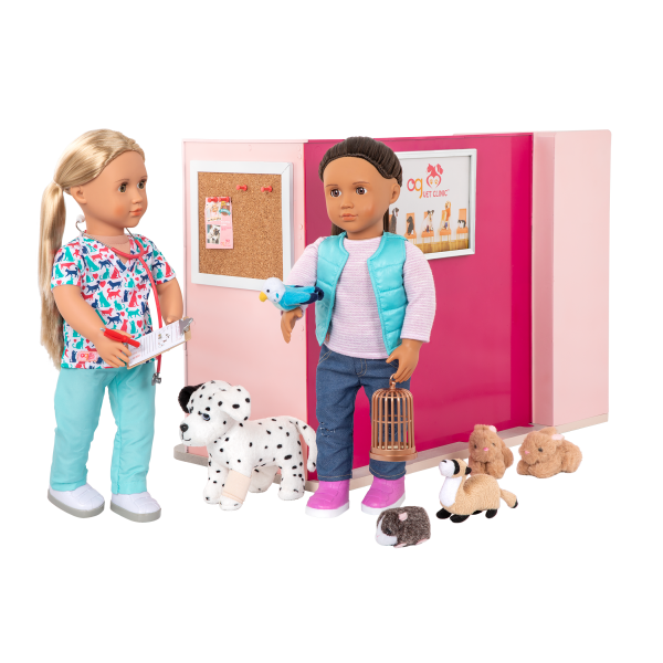 Healthy Paws Vet Clinic Playset Pink for 18-inch Dolls Cassie