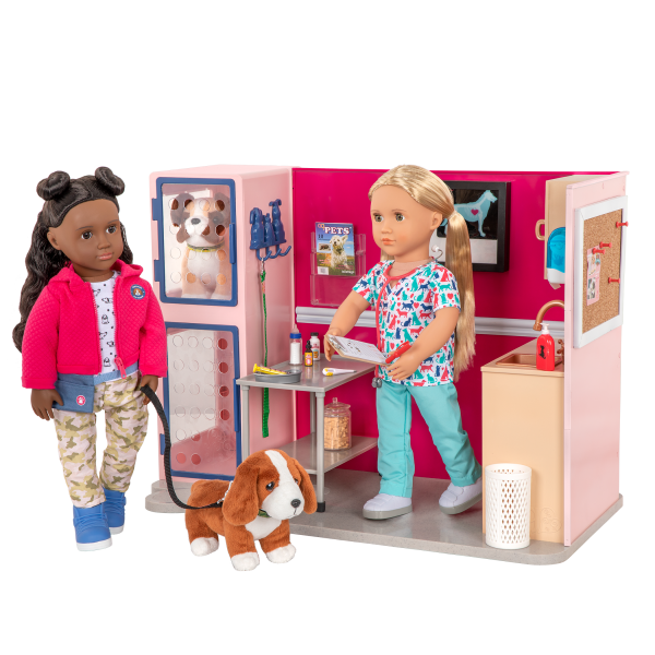Healthy Paws Vet Clinic Playset Pink for 18-inch Dolls Macy