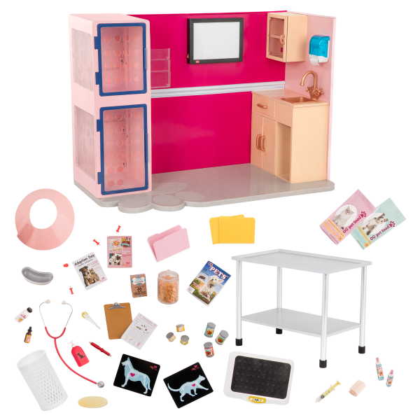 Healthy Paws Vet Clinic Playset Pink for 18-inch Dolls