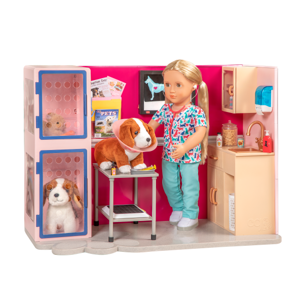 Healthy Paws Vet Clinic Playset Pet Checkup for 18-inch Dolls