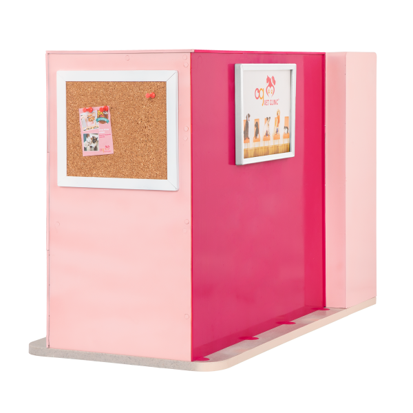 Healthy Paws Vet Clinic Double-Sided Playset Pink for 18-inch Dolls