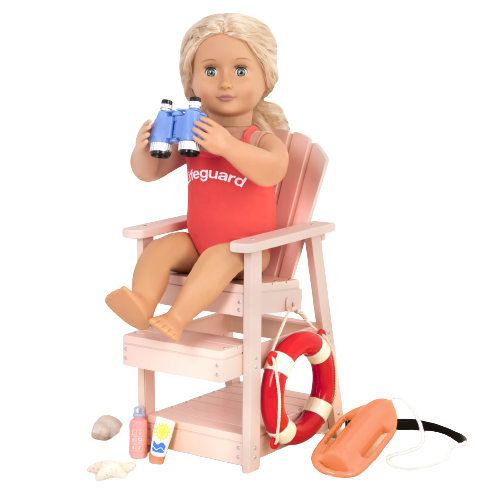 Lifeguard Playset in Pink for 18-inch Dolls