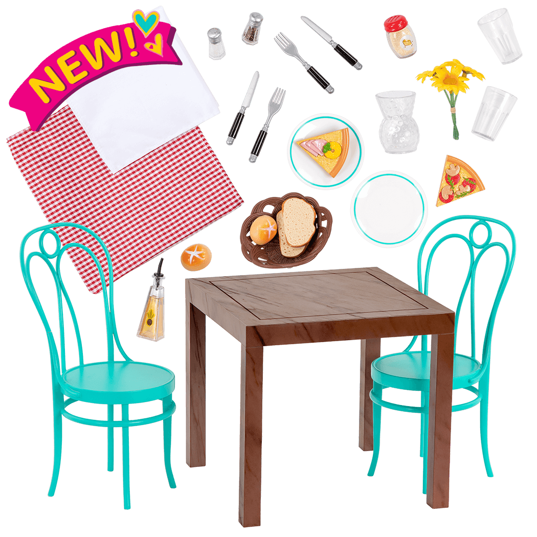 Pizza With You Dining Table Chairs Furniture Set for 18-inch Dolls