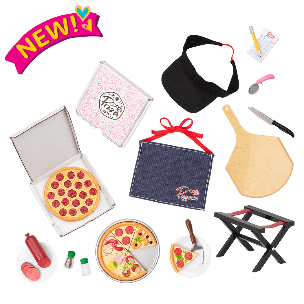 Yummy Pizzeria Play Food Pizza Set for 18-inch Dolls