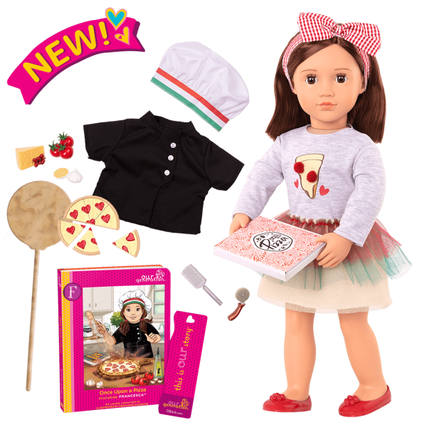 Posable 18-inch Pizza Chef Doll Francesca