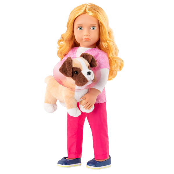 Anais holding plush pup