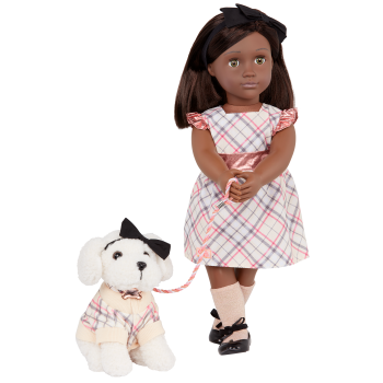 Our Generation 18-inch Doll Candice & Pet Dog Plush Chic