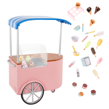 Two Scoops Ice Cream Cart Playset for 18-inch Dolls