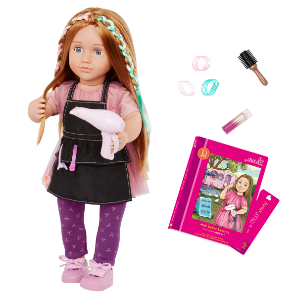 Our Generation 18-inch Posable Hairdresser Doll Drew & Storybook