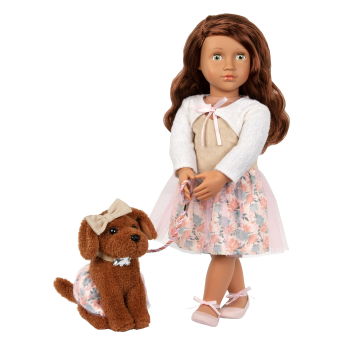 Our Generation 18-inch Doll Camelia & Pet Dog Plush Pirouette