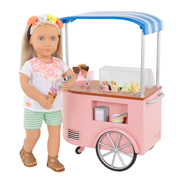 Two Scoops Ice Cream Cart Pink Playset for 18-inch Dolls