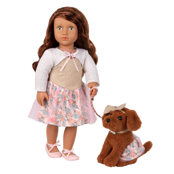 Our Generation 18-inch Doll Camelia & Pet Dog Plush Pirouette Matching Floral Dress