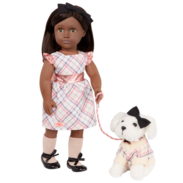 Our Generation 18-inch Doll Candice & Pet Dog Plush Chic Matching Outfits