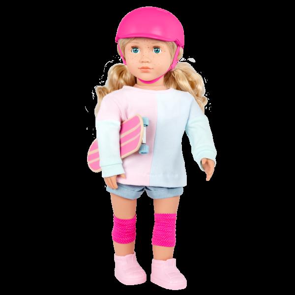 Our Generation 18-inch Skateboarder Doll Yanika Blonde Hair & Blue Eyes