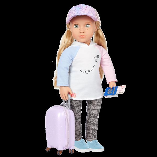 Our Generation 18-inch Travel Doll Ari & Luggage Accessory