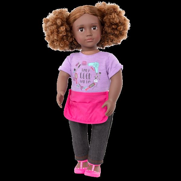 Our Generation 18-inch Hairdresser Doll Ashanti Blonde Hair Brown Highlights