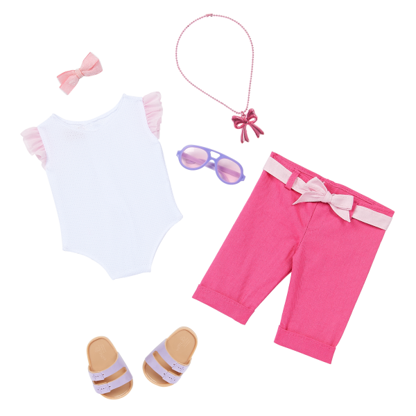 Our Generation 18-inch Fashion Doll Thea Shorts Leotard Necklace Outfit