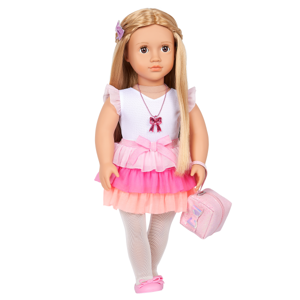 Our Generation 18-inch Fashion Doll Thea Ruffle Skirt Outfit Charm Necklace Purse Accessory