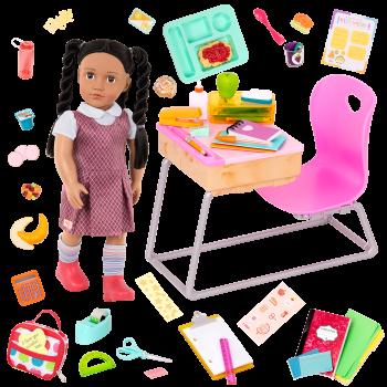 Our Generation Frederika & Flying Colors School Desk Bundle
