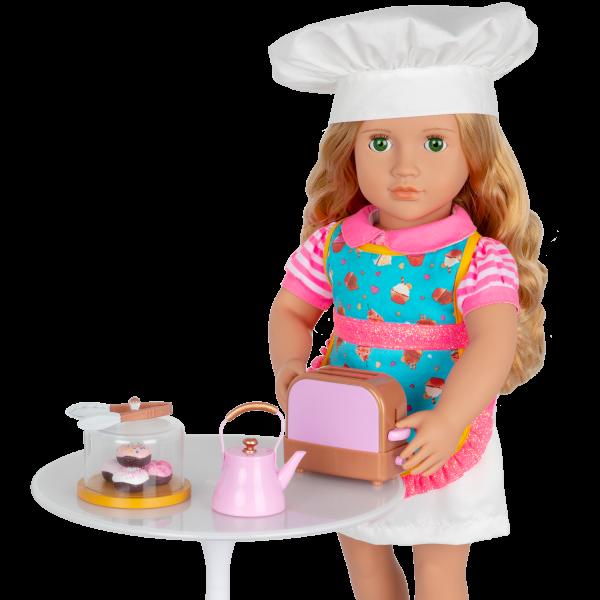 Our Generation Baker's Kitchen Set Tea Kettle Pop-Up Toaster for 18-inch Dolls