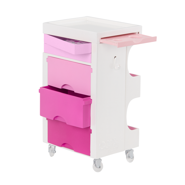 Our Generation Rolling Salon Cart Playset Storage Drawers for 18-inch Dolls