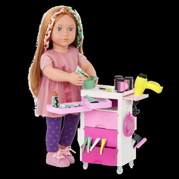 Our Generation Salon Cart Playset 18-inch Doll Hairdresser Drew