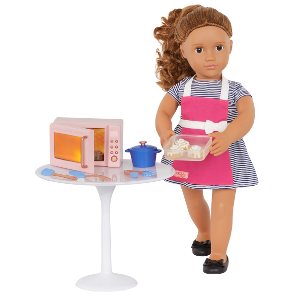 Our Generation In The Kitchen Set Light-Up Microwave for 18-inch Dolls