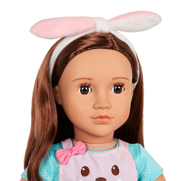 Our Generation Rabbits & Carrots Baking Outfit Bunny Ears Headband for 18-inch Dolls