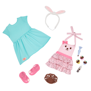 Our Generation Rabbits & Carrots Baking Outfit for 18-inch Dolls