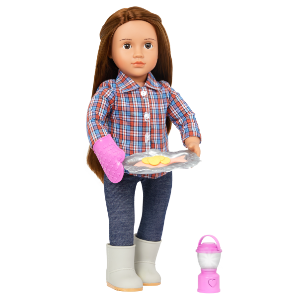 Our Generation Campfire Cookout Realistic Play Food Set 18-inch Doll Camping Accessories