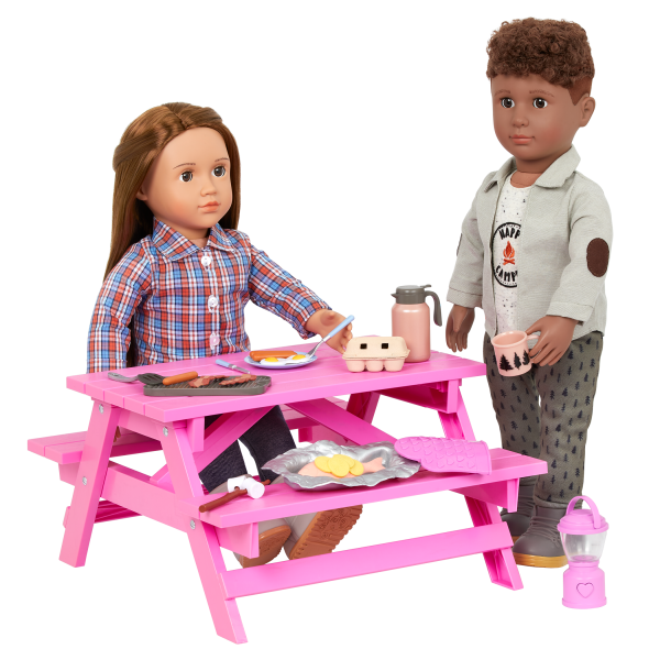 Our Generation Campfire Cookout Play Food Set Light-Up Lantern for 18-inch Dolls