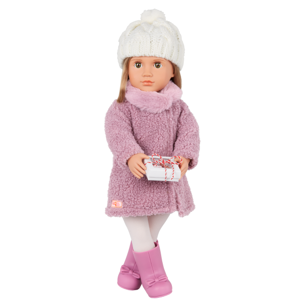 Our Generation Wonderfully Warm Sherpa Coat Knit Hat Outfit for 18-inch Dolls