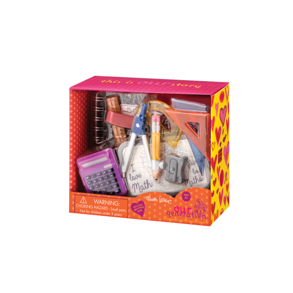 Our Generation Math Whiz Geometry Set Packaging 18-inch Doll School Accessories