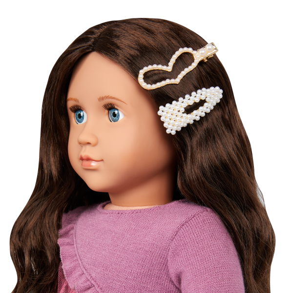 Our Generation Twirls & Pearls Heart Hair Clip 18-inch Doll Styling Accessories