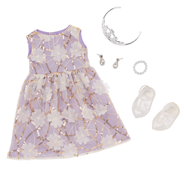 Our Generation 18-inch Doll Ambreal Floral Gown Outfit & Jewelry Accessories