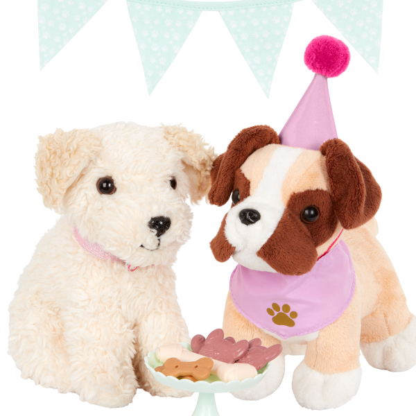 Our Generation Party Pups Treat Set Stuffed Animal Pets 18-inch Doll Accessories