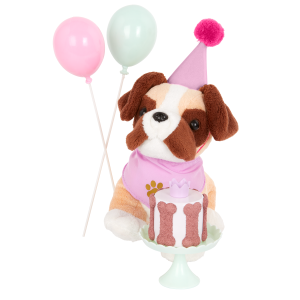 Our Generation Party Pups Birthday Cake Balloons Set Dog Plush Pets 18-inch Doll Accessories
